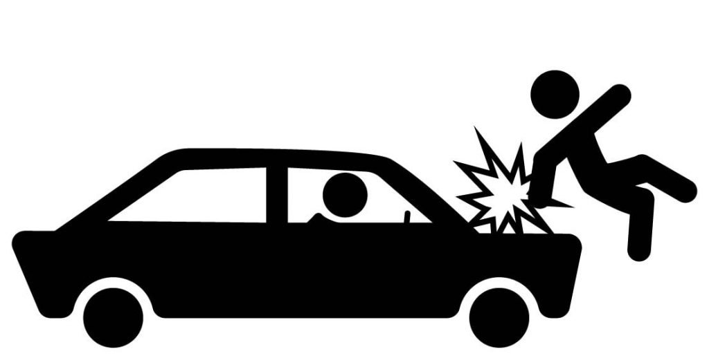 Person acquiring a personal injury by being hit by car
